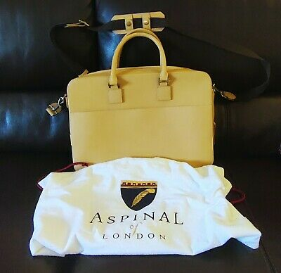 ASPINAL OF LONDON - Small Mount Street Laptop Bag - Beige - RRP £595 • 199£