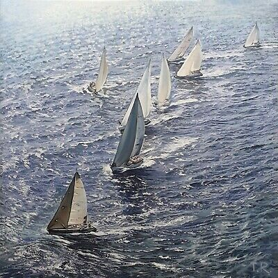 Original Oil On Canvas Painting 60 X 60 Cm  SAILS OVER THE SEA  • 680£