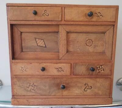 £174.99 • Buy Beautiful Antique Japanese Apprentice Miniature Chest Of Drawers Inlaid Detail