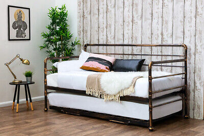 £279.99 • Buy Bronze Metal Day Bed With Guest Bed Trundle - Single Bed 3ft - Industrial Style