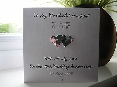 Handmade Personalised Tin 10th Wedding Anniversary Card Husband Wife Couple • 4£