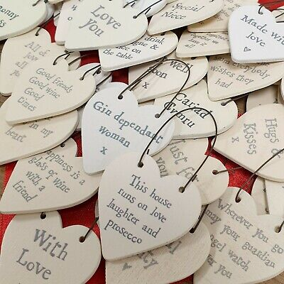 £1.68 • Buy East Of India Tiny Miniature Wooden Heart/Star Messages Gift Tags Signs Keepsake