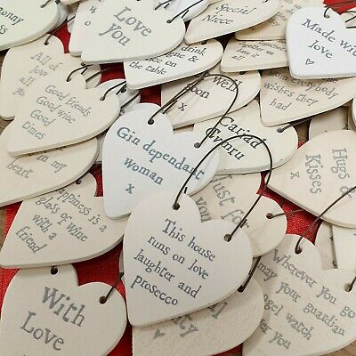 East Of India Tiny Miniature Wooden Heart/Star Messages Gift Tags Signs Keepsake • 1.69£