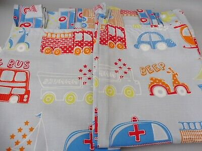 Next Children's Tab Top Blue Vehicles  Curtains 52 Inch Wide 54 Inches Drop • 13.99£