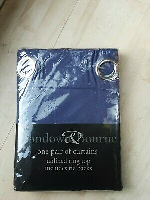 Ring Top Curtains And Tie Backs 168x137 Cm , Indigo  • 14£