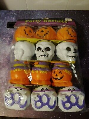$ CDN18.97 • Buy Vintage Candy Baskets Cup Plastic Party Favors Halloween Skull Skeleton GHOSTS