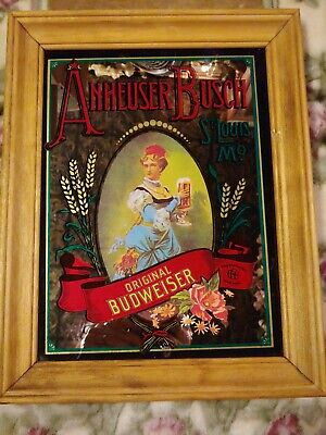 $ CDN61.86 • Buy Old Vtg Collectible Anheuser Busch Glass Mirrored Bar Sign Advertising 11x14
