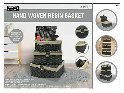 Gift Hamper Set Of 3 Resin Woven Wicker Willow Storage Baskets With Lid & Lock  • 20.39£