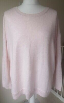 Baby Pink Oversized Slouchy Wool Blend Fine Knit Jumper From Joules Size 14 • 24.99£
