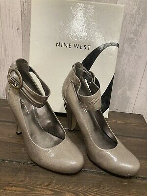 Nine West, Size 3, Boxed Pewter Coloured Shoes With Ankle Straps • 14.95£