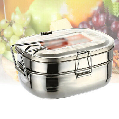AU16.19 • Buy .Silver 2-Layer Metal Stainless Steel Lunch Box Square Bento Food Container-Box.