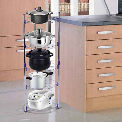 Five Tier Kitchen Pan Stand Saucepan Pot Rack Holder Chrome New By Home Discount • 15.99£