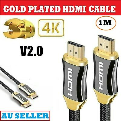 AU17.49 • Buy  4K 2.0 High Speed Gold Plated 1Meter HDMI Cable Braided Lead HDTV UHD To TV AUS