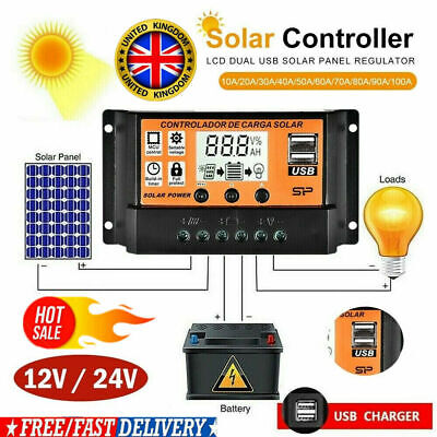 100A LCD MPPT/PWM Solar Panel Battery Regulator Charge Controller Dual USB UK • 11.39£