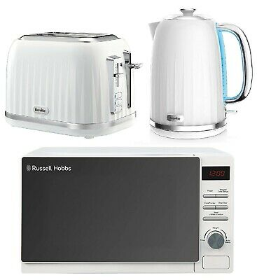 Breville Impressions Electric Kettle & Toaster Set With Russell Hobbs Microwave • 169.99£