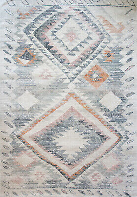 Multicoloured Tribal Area Rug Low PIle Transitional Moroccan Living Room Rugs • 59.95£