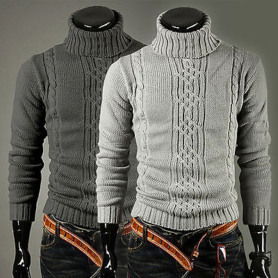 Mens Winter Warm Knitted Sweater Roll Turtle-Neck Long Sleeve Pullover Jumpers • 13.77£