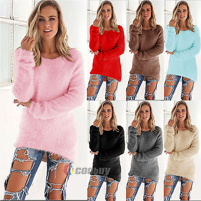 Womens Knitted Sweater Jumpers Ladies Winter Loose Pullover Tops Plus Size • 11.39£