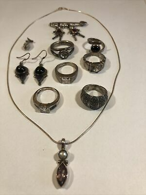 $ CDN101.43 • Buy 10 Pc Vintage Estate Wearable Sterling With Stones Jewelry Lot Rings Etc. 62 Grm