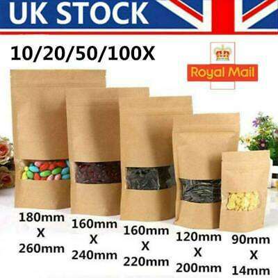 Paper Bag Resealable Zip Lock Kraft Pouch Stand Up Foil Heat Seal Food Grade UK • 5.39£