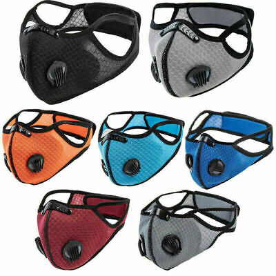 Face Mask Anti Pollution Reusable Washable PM2.5 Two Air Vent With Filter UK • 3.59£