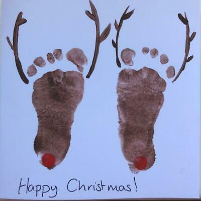Reindeer Footprint Childrens Card Making Activity Kit Eco Christmas 2 For £10 • 10£