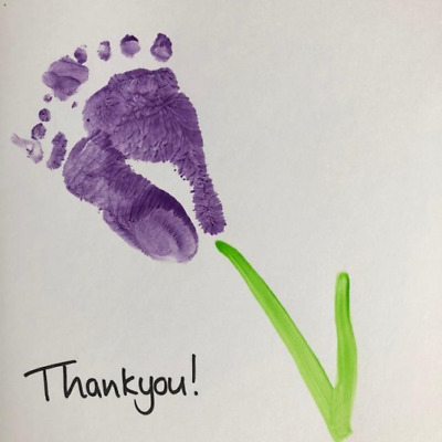 Tulip Footprint Childrens Card Making Activity Kit Eco Thankyou Baby 2 For £10 • 10£
