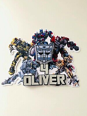 Personalised Transformers Bumblebee/ Optimus Prime Cake Topper Name And Age  • 6.45£