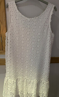 WOMENS WHITE LACE SUMMER DRESS FULLY LINED SIZE 16 Floral Be Baue PRETTY PERFECT • 7£