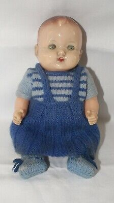 Vintage Roddy Baby Doll With Original Tin Eyes And Knitted Outfit (Circa 1950's) • 29.95£