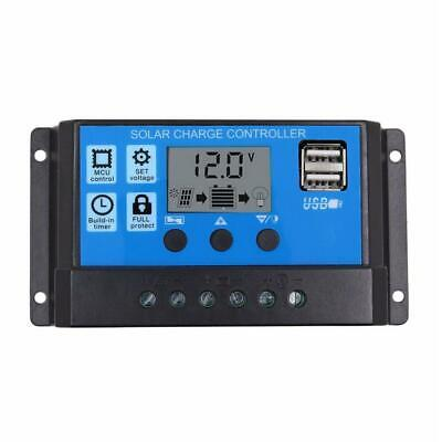 12V/24V LCD Auto Solar Charge Controller PWM Dual USB Output Charger (30A) *DC • 6.77£