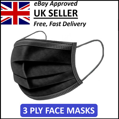 Disposable 3 Ply Face Masks Aarton Mask Medical Surgical Black  • 8.99£