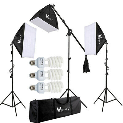 3x 65W Photography Softbox Studio Continuous Video Lighting Soft Box Stand Kit • 47.99£