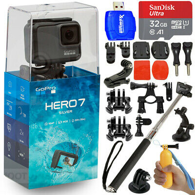 $ CDN315.91 • Buy GoPro HERO7 Silver 10MP Waterproof 4K Camera Camcorder + 32GB Action Bundle