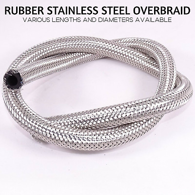 £7.62 • Buy Nitrile Rubber Fuel Hose Braided Stainless Steel Overbraid Line Oil Petrol