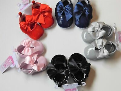 Baby Girl Patent Type Pram Shoes Bow Newborn Infant 0-3 Months 3-6 6-12 Party We • 7.50£
