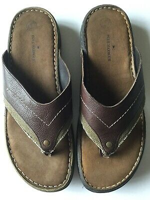 M&S BLUE HARBOUR Mens Toe Post Brown Real Leather Slip On Sandals Sz 11 • 12£