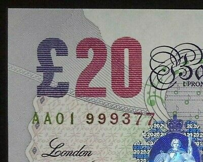 £20. Twenty Pound  Note. Lowther. * Aa01 * Uncirculated. • 50.01£