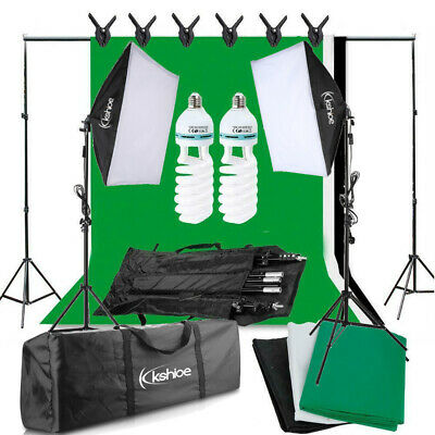 Photography Backdrop+ Stand Set Photo Studio Softbox Lighting Video Light Kit UK • 52.99£