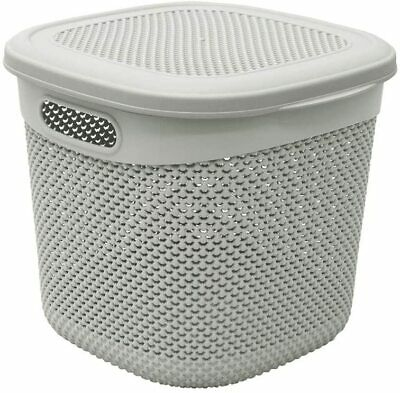 £12.99 • Buy 15L Droplette Storage Basket With Lift Up Lid Grey Coloured- Toys Storage Box