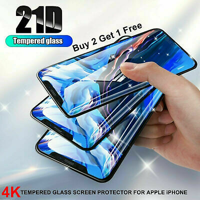 Tempered Glass Screen Protector For IPhone 6 7 7s 8 Plus X XR XS 11 Pro Max 21D • 1.89£