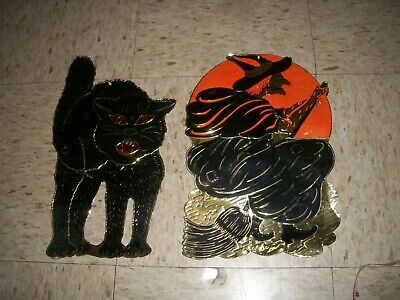 $ CDN49.60 • Buy Vintage Halloween Foil Flying Witch & Cat Embossed Die Cut Decoration 1950s USA