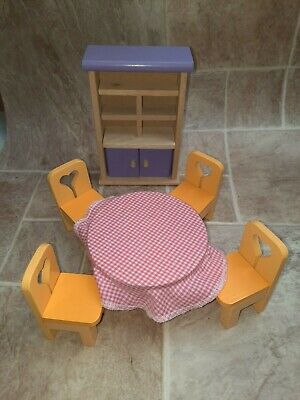Wooden Dolls House Furniture Bundle Kitchen Dresser Table Chairs  • 12£