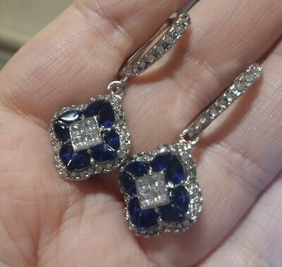 ❤️Earrings 9ct White Gold Over Blue❤️ Sapphire Diamond Drop 42 Mm Silver Gift ❤️ • 10.99£