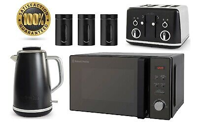 Black Breville Matching Jug Kettle And Toaster Set Russell Hobbs Microwave SALE • 199.99£