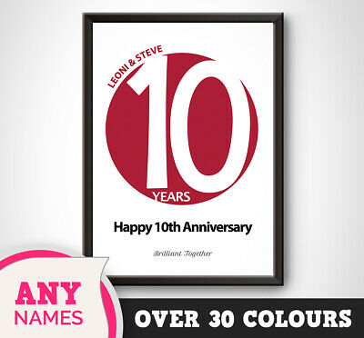 PERSONALISED 10th Wedding Anniversary Print Circle Gift Present Picture Tin Art • 12.99£