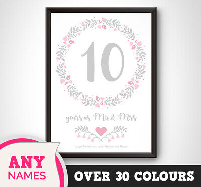 PERSONALISED 10th Wedding Anniversary Print Floral Gift Present Picture Tin Art • 18.99£