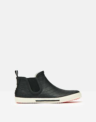 Joules Womens Rainwell Short Height Slip On Welly - Black Croc • 39.95£