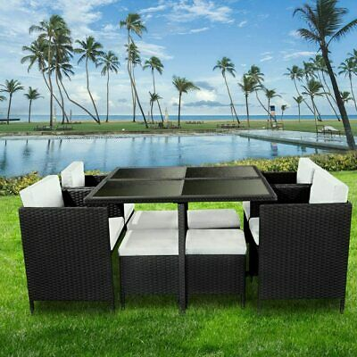 Rattan 9 Pieces Garden Furniture Set Cube Dining Chairs Table Outdoor Uk Stock • 389.99£