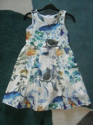 £4 • Buy NEXT Cream Satin Butterfly Print Prom Dress 9 Years Lined With Net Frill